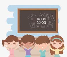 terug naar school, onderwijs cartoon studenten jongens en meisjes met bord