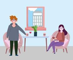 sociaal afstandelijk restaurant of een café, vrouw met koffiekopje en man afstand houden, covid 19 coronavirus, nieuw normaal leven vector