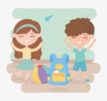terug naar school, studenten jongen meisje met rugzak en bal onderwijs cartoon