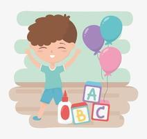 terug naar school, lijmblokken student jongen alfabet en ballonnen onderwijs cartoon