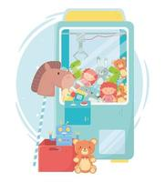 kinderspeelgoed object grappig cartoon teddy plukker machine paard robot en doos