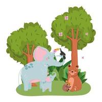 schattige dieren olifanten dragen toekan en tarsius gras bos natuur wilde cartoon vector
