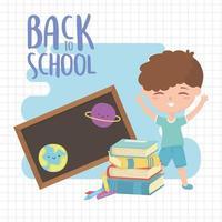 terug naar school, boeken student jongen schoolbord en kleurpotloden onderwijs cartoon