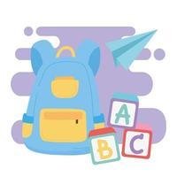 terug naar school, rugzak blokken alfabet en papieren vliegtuig onderwijs cartoon