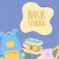terug naar school, rugzak boeken liniaal en papier onderwijs cartoon