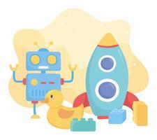 kinderspeelgoed object grappige cartoon robot raket eend en blokken vector