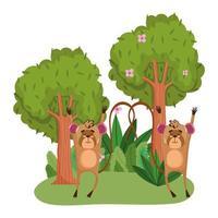 schattige dieren moneky bomen bloemen gras bos natuur wilde cartoon vector