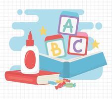 terug naar school, lijm boeken blokken alfabet en snoepjes onderwijs cartoon