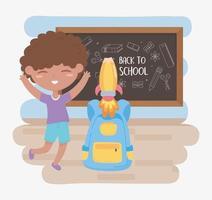 terug naar school, studentenjongen met schoolbordrugzak en cartoon van het raketonderwijs