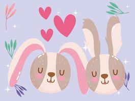 schattige cartoon dieren konijnen gezichten harten liefde gebladerte schattig klein