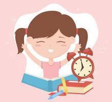 terug naar school, student meisje met klokboeken en potloden onderwijs cartoon