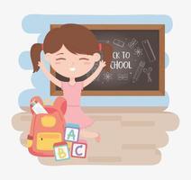 terug naar school, student meisje met schoolbord rugzak onderwijs cartoon