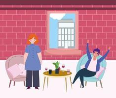 sociaal afstandelijk restaurant of een café, vrouw en man vieren met drankjes aan tafel afstand houden, covid 19 coronavirus, nieuw normaal leven vector