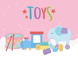kinderspeelgoed object grappige cartoon olifant trommel trein en blokken