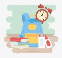 terug naar school, rugzakboeken lijm klok en kleurpotloden onderwijs cartoon