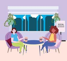 sociaal afstandelijk restaurant of café, jonge vrouw die koffie drinkt, afstand houden, covid 19 coronavirus, nieuw normaal leven vector