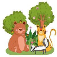 schattige dieren dragen tijgerbijen en stinkdier gras bos natuur wilde cartoon vector
