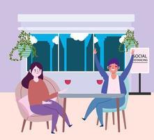 sociaal afstandelijk restaurant of een café, man en vrouw met glas wijn afstand houden, covid 19 coronavirus, nieuw normaal leven vector