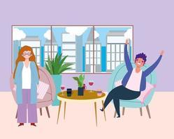 sociaal afstandelijk restaurant of een café, staande vrouw en man zittend met drankjes, covid 19 coronavirus, nieuw normaal leven vector