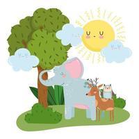 schattige dieren olifant herten en uil gras boom natuur wilde cartoon vector