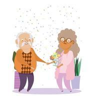 gelukkige grootouders dag, bejaarde echtpaar cartoon, grootvader grootmoeder met bloemen karakters