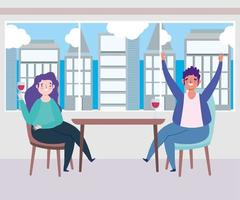 sociaal afstandelijk restaurant of een café, vieren met glas wijn man en vrouw, covid 19 coronavirus, nieuw normaal leven vector