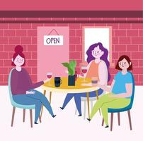 sociaal afstandelijk restaurant of een café, jonge vrouwen met koffie en wijnbekers in tafel, covid 19 coronavirus, nieuw normaal leven vector