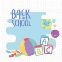 terug naar school, bal blokken alfabet planeten onderwijs cartoon