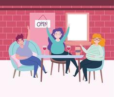 sociaal afstandelijk restaurant of een café, drinkende man en vrouw houden afstand, covid 19 coronavirus, nieuw normaal leven vector