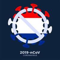 holland vlag teken voorzichtigheid coronavirus vector