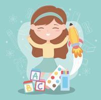 terug naar school, student meisje met blokken alfabet onderwijs cartoon