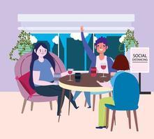 sociaal afstandelijk restaurant of café, man en vrouw zittend aan tafel afstand houden, covid 19 coronavirus, nieuw normaal leven vector