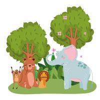 schattige dieren leeuw olifant beer aap bomen bloemen gras bos natuur wilde cartoon vector