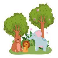 schattige dieren olifant leeuw beer gras bloemen bomen bos natuur wilde cartoon vector