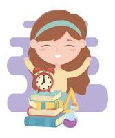 terug naar school, studentenmeisje met klokboeken en het beeldverhaal van het reageerbuisonderwijs