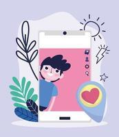 jonge jongen smartphone scherm bericht hou van sociale media vector