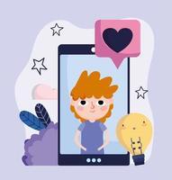 jonge jongen op het scherm smartphone hou van chat sociale media vector