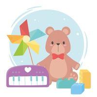 kinderspeelgoed object grappige cartoon piano pinwheel blokken en teddybeer