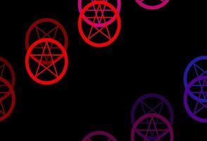 donkerblauwe, rode vectorachtergrond met mysteriesymbolen.