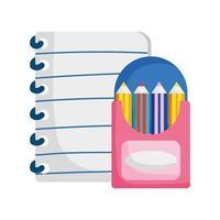 terug naar schoolonderwijspapier en kleurpotloden in doos