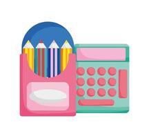 terug naar schoolonderwijscalculator en kleurpotloden in doos
