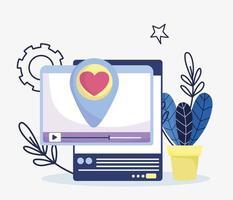 website smartphone video love chat sociale media vector