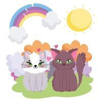 schattige katten die in de huisdieren van het graszonthema zitten