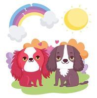 schattige puppy's zitten regenboog zon wolken huisdieren