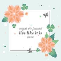 Platte Vector voorjaar wenskaart