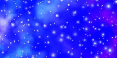 donkerroze, blauwe vectorachtergrond met kleurrijke sterren.
