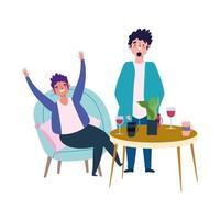 sociaal afstandelijk restaurant of een café, staande man en andere zittende met wijnbekers, covid 19 coronavirus, nieuw normaal leven vector