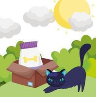 kat met voedsel in doos buiten huisdieren