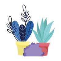 planten bladeren in potten bush botanische decoratie vector