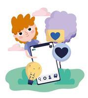 schattige jonge jongen smartphone bericht hou van sociale media vector